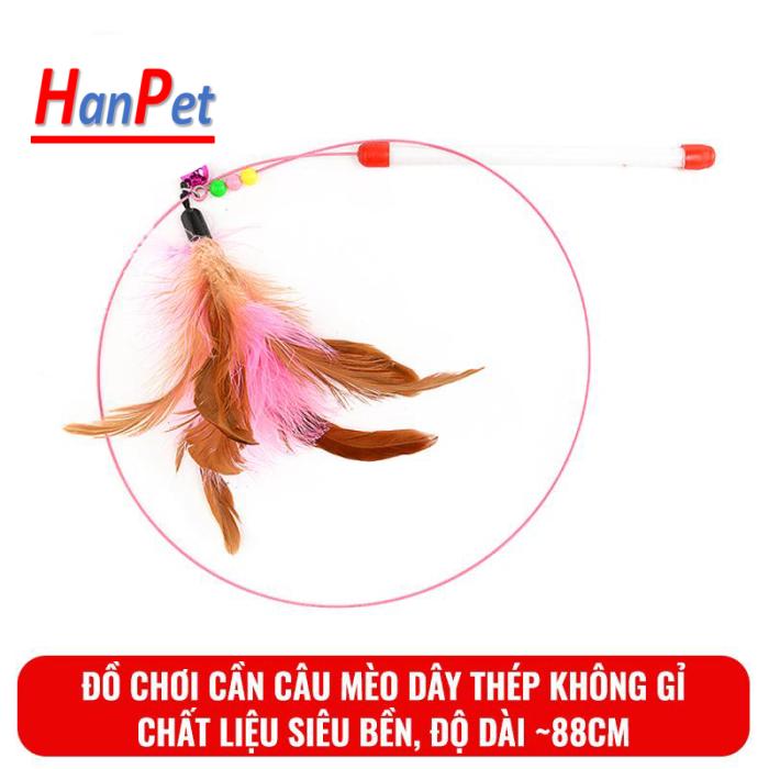 HPKM- Đồ chơi Cần câu mèo dây thép không gỉ cho mèo Hanpet màu hồng