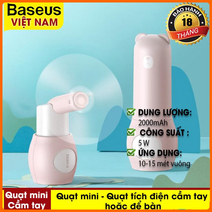 Quạt mini - Quạt tích điện cầm tay hoặc để bàn Baseus Tricolor Bear Portable Folding Fan dung lượng 2000mAh, có thể gấp gọn, dễ dàng mang theo khi di chuyển