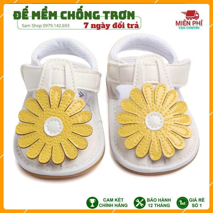 Giày Tập Đi Em Bé,Dép Tập Đi Đính Hoa Vàng Xinh Xắn Cho Bé Gái 0-18 tháng thumbnail