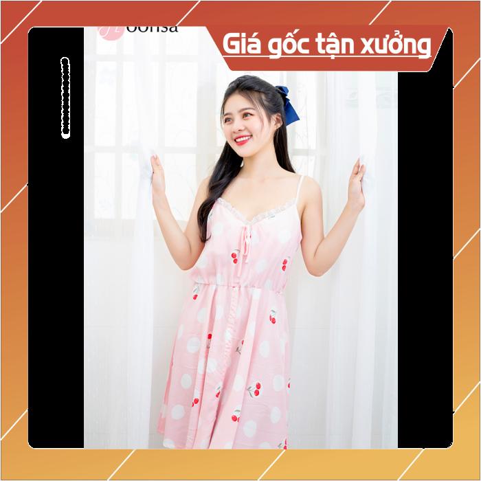 Nơi bán Đầm ngủ nữ vải tole Cherry Hồng Phấn [Moonsa]