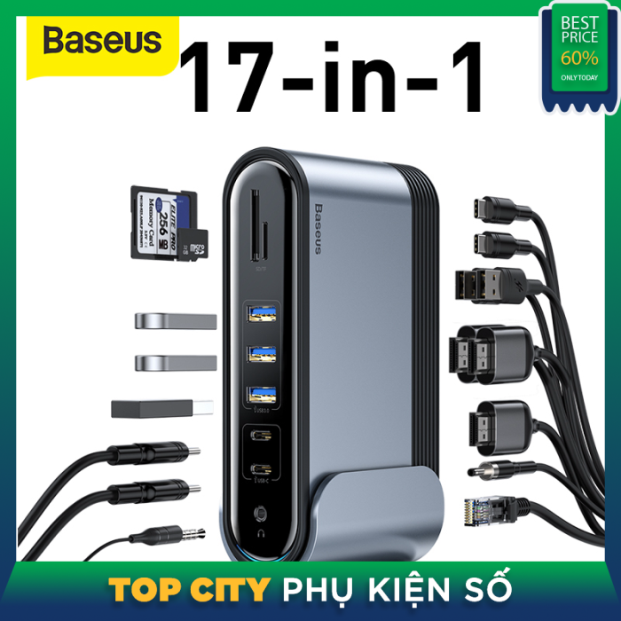 Bảng giá Hub chuyển đa năng  Baseus 17 Trong 1 USB C 3.0 HUB Loại C Sang USB3.0 HDMI VGA RJ45 TF/SD 3.5 Mm Jack USB Trạm Nối Với Bộ Chuyển Đổi Cho MacBook Pro Air Ipad Pro Surface Pro Phong Vũ