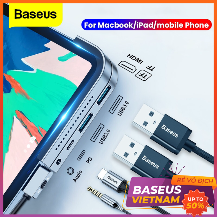 Bảng giá Hub chuyển 6 trong 1 Baseus Bend Angle No.7 dùng cho iPad Pro 2018 11/12.9 inches (Type C to USB3.0+ HDMI + SD/Micro SD + Audio 3.5mm+C PD, Extended InterfacesHub) Phong Vũ