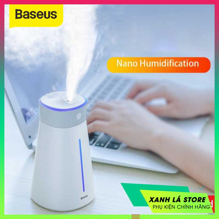Máy phun sương tạo ẩm mini tích hợp đèn trang trí đổi màu Baseus Whale Car/ Home/ Office Humidifier (420ml, USB 5V, Ultrasonic Air Diffuser/ Humidifier Atomizer)