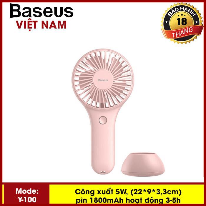 Quạt mini - Quạt tích điện  Baseus Y100 Mini USB Fan Di Động để bàn hoặc Cầm Tay Pin bền 1800 mAH Tiện Dụng sử dụng đa năng trong nhà ngoài trời - Phân phối bởi TopLink
