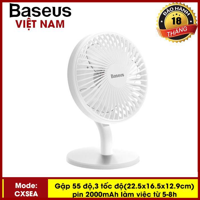 Quạt mini Quạt tích điện - quạt mini cầm tay để bàn Baseus Ocean Fan (Pin sạc 2000mAh, 4 mức tốc độ - Mini USB Rechargeable Air Cooling Fan Clip Desk Fan) - Phân phối bởi TopLink